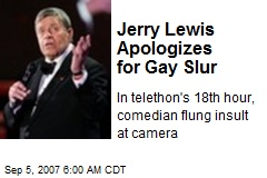 Jerry Lewis Apologizes for Gay Slur