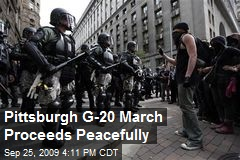 Pittsburgh G-20 March Proceeds Peacefully