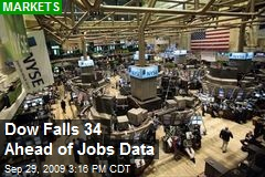 Dow Falls 34 Ahead of Jobs Data