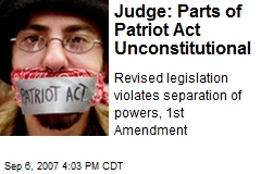 Judge: Parts of Patriot Act Unconstitutional