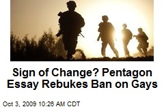 Sign of Change? Pentagon Essay Rebukes Ban on Gays