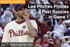 Lee Pitches Phillies Past Rockies in Game 1