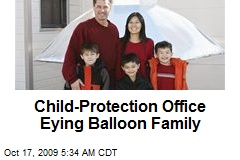 Child-Protection Office Eying Balloon Family