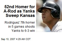 52nd Homer for A-Rod as Yanks Sweep Kansas