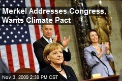 Merkel Addresses Congress, Wants Climate Pact