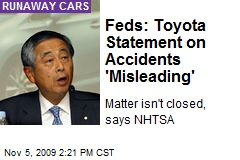 Feds: Toyota Statement on Accidents 'Misleading'