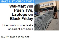 Wal-Mart Will Push TVs, Laptops on Black Friday