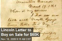 Lincoln Letter to Boy on Sale for $60K