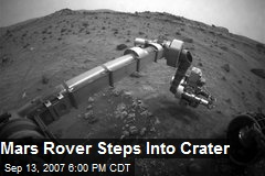 Mars Rover Steps Into Crater
