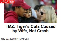 TMZ: Tiger's Cuts Caused by Wife, Not Crash
