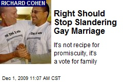 Right Should Stop Slandering Gay Marriage