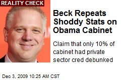 Beck Repeats Shoddy Stats on Obama Cabinet
