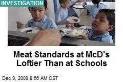 Meat Standards at McD's Loftier Than at Schools