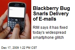 Blackberry Bug Snarls Delivery of E-mails