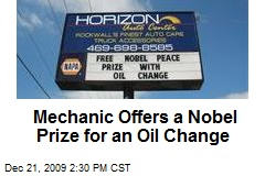 Mechanic Offers a Nobel Prize for an Oil Change