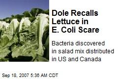 Dole Recalls Lettuce in E. Coli Scare
