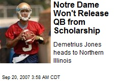 Notre Dame Won't Release QB from Scholarship