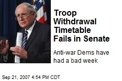 Troop Withdrawal Timetable Fails in Senate
