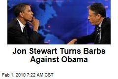 Jon Stewart Turns Barbs Against Obama