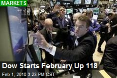 Dow Starts February Up 118