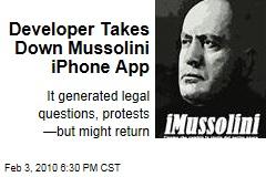 Developer Takes Down Mussolini iPhone App