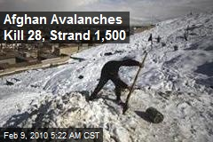 Afghan Avalanches Kill 28, Strand 1,500