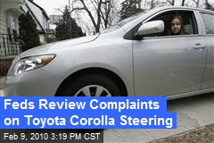 Feds Review Complaints on Toyota Corolla Steering