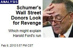 Schumer's Wall Street Donors Look for Revenge
