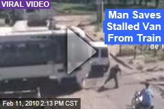 Man Saves Stalled Van From Train