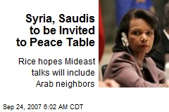 Syria, Saudis to be Invited to Peace Table
