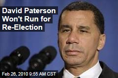 David Paterson Won't Run for Re-Election