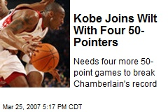 Kobe Joins Wilt With Four 50-Pointers