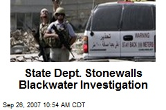 State Dept. Stonewalls Blackwater Investigation