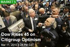 Dow Rises 45 on Citigroup Optimism