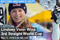 Lindsey Vonn Wins 3rd Straight World Cup