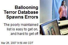 Ballooning Terror Database Spawns Errors