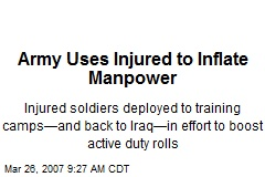 Army Uses Injured to Inflate Manpower