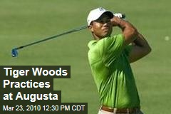Tiger Woods Practices at Augusta