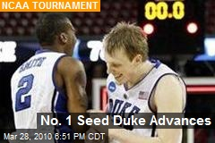No. 1 Seed Duke Advances