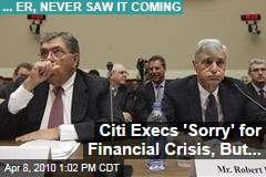 Citi Execs 'Sorry' for Financial Crisis, But...