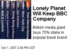 Lonely Planet Will Keep BBC Company