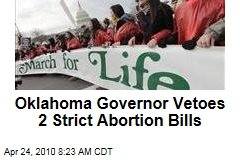 Oklahoma Governor Vetoes 2 Strict Abortion Bills