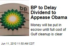 BP to Delay Dividend to Appease Obama
