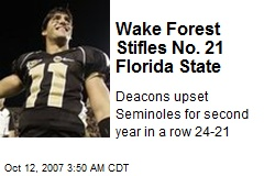 Wake Forest Stifles No. 21 Florida State