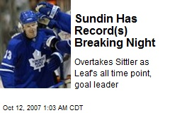 Sundin Has Record(s) Breaking Night