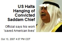 US Halts Hanging of Convicted Saddam Chief