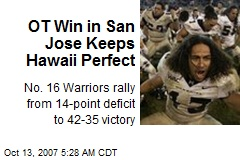 OT Win in San Jose Keeps Hawaii Perfect