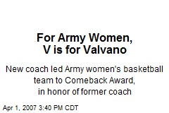 For Army Women, V is for Valvano