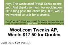 Woot.com Tweaks AP, Wants $17.50 for Quotes