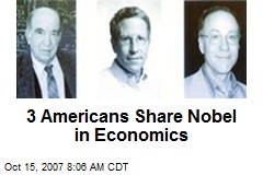 3 Americans Share Nobel in Economics